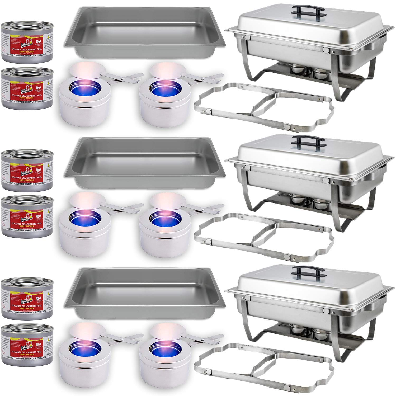 Chafing Dish Buffet Set w/Fuel — Folding Frame + Water Pan + Food Pan (8 qt) + 6 Fuel Holders + 6 Fuel Cans – 3 Full Warmer Kit