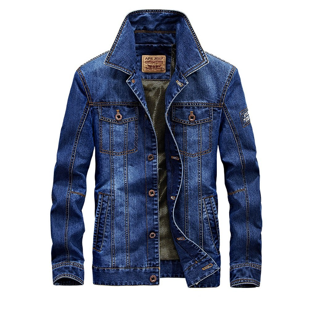 FeN Men's Cotton Denim Jacket - Solid Color, Print Lapel Coats Autumn And Winter Casual Loose Outerwear Comfortable Business Tops (Color : 2, Size : XXXL)