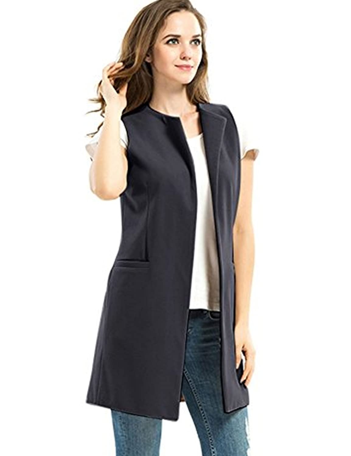 Women's Casual Long Vest Jacket Sleeveless Solid Long Trench Coat Open  Front Blazer Vest With Pockets: Amazon.ca: Clothing & Accessories