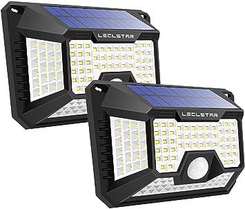 Luz Solar Exterior, con 270 °iluminación de Cuatro Lados Foco Solar Sensor,Impermeable Lámparas Solares 3 Modos para Exterior Jardin Garaje 2-Paquete: Amazon.es: Bricolaje y herramientas