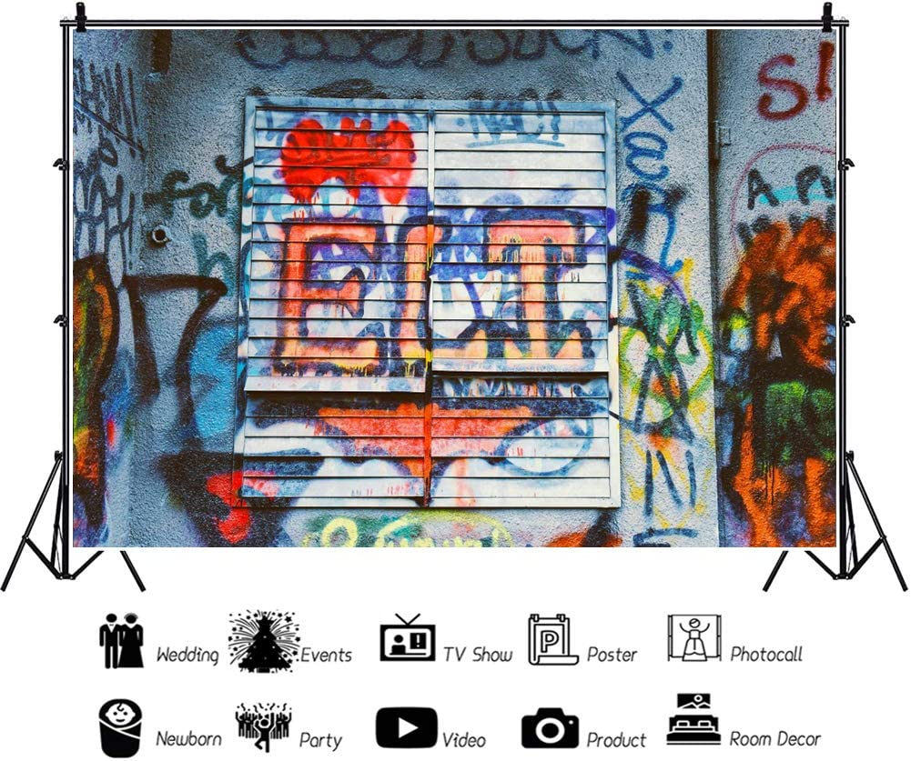 YEELE Grunge Graffiti Backdrop 10x8ft Dirty Painting on Cement Wall Photography Background Interior Decoration YouTube Videos Kids Adults Artistic Portrait Photoshoot Props Digital Wallpaper