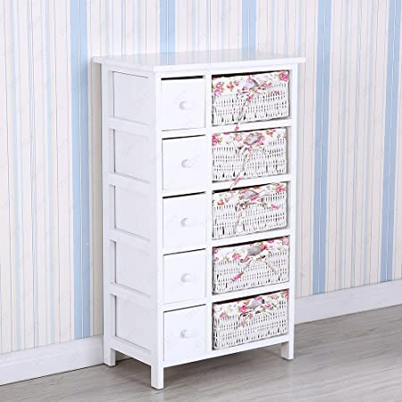 Bedside Cabinet White Chest Of Drawers Storage Unit Wooden Wicker Baskets  (5 Drawers U0026 5