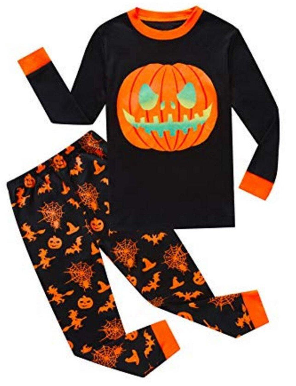 MOUSYA Kids Boys Girls Halloween Outfit Pumpkin Print T-Shirt Leggings Pants Set