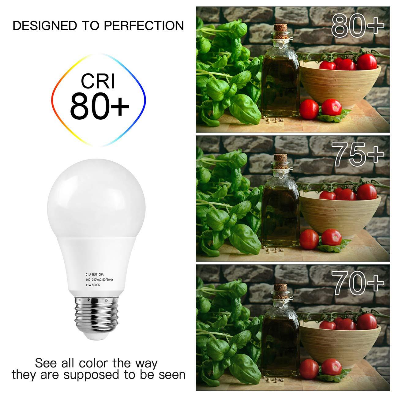 A19 LED Light Bulbs 5000K, 100 Watt Equivalent LED Bulb Daylight White, 1100Lumens, Non Dimmable, Medium Screw Base (E26), CRI80+, 12-Pack by MAXvolador (Image #5)