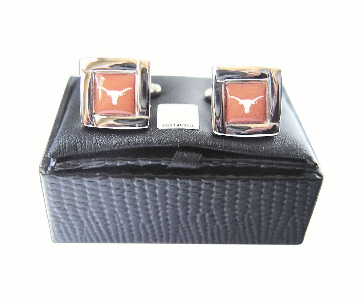aminco NCAA Texas Longhorns Sports Team Logo Square Cufflinks Gift Box Set