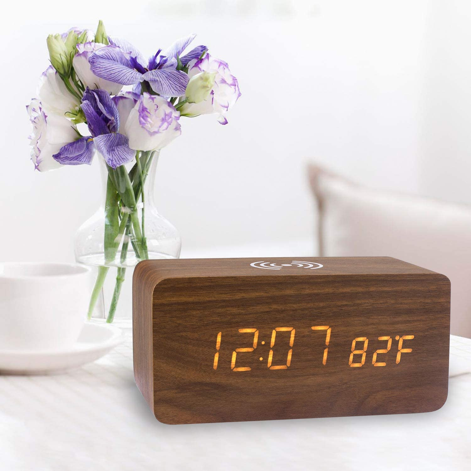 TechKen Wooden Alarm Clock with Qi Wireless Charging Pad, Wood LED Digital Bedroom Office Home Clock Time Date Temperature Display Wireless Charger