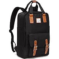 Backpack for Women,VASCHY Unisex Vintage Water Resistant 15in Laptop School Backpack Bookbag for Teen Girls Black
