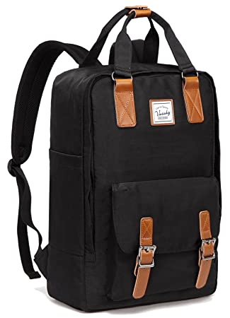 Amazon.com: School Backpack,VASCHY Unisex Vintage Water Resistant 15in Laptop Backpack Bookbag for College Black: VaschyDirect