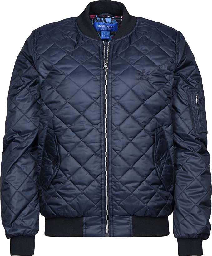 adidas Originals Womens Padded Quilted Zipped Bomber Jacket Coat Black