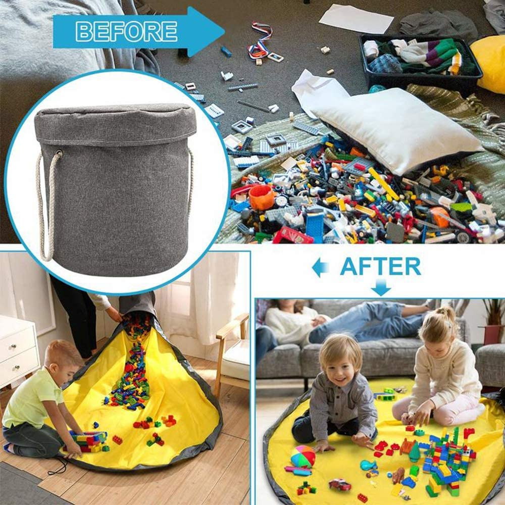 150CM Toy Storage Basket and Play Mat Floor Activity Organizer Mat Large Play Mat and Toy Storage Organizer Baskets Organizer Fast Clean Up Drawstring Bag