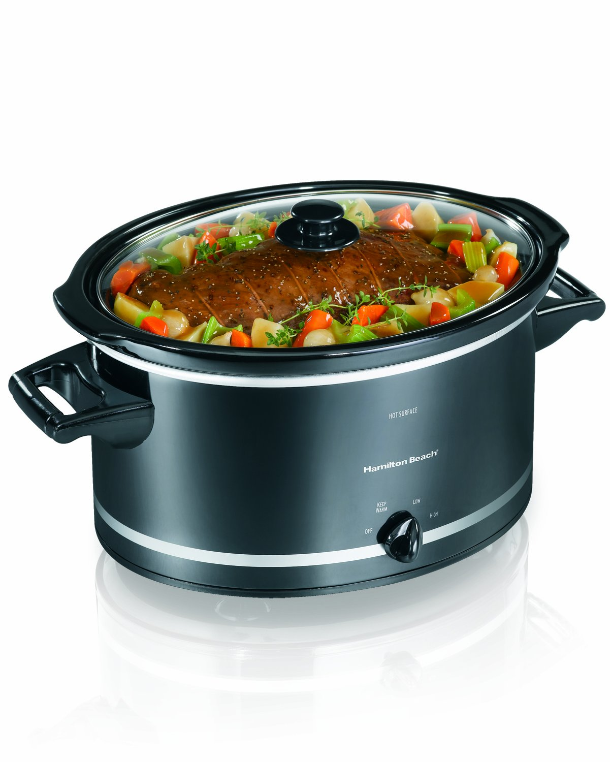 Hamilton Beach 33182 8-Quart Oval Slow Cooker, Black (Discontinued)