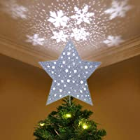 yunlights christmas tree topper lighted star tree topper with led snowflake projector lights christmas decorations