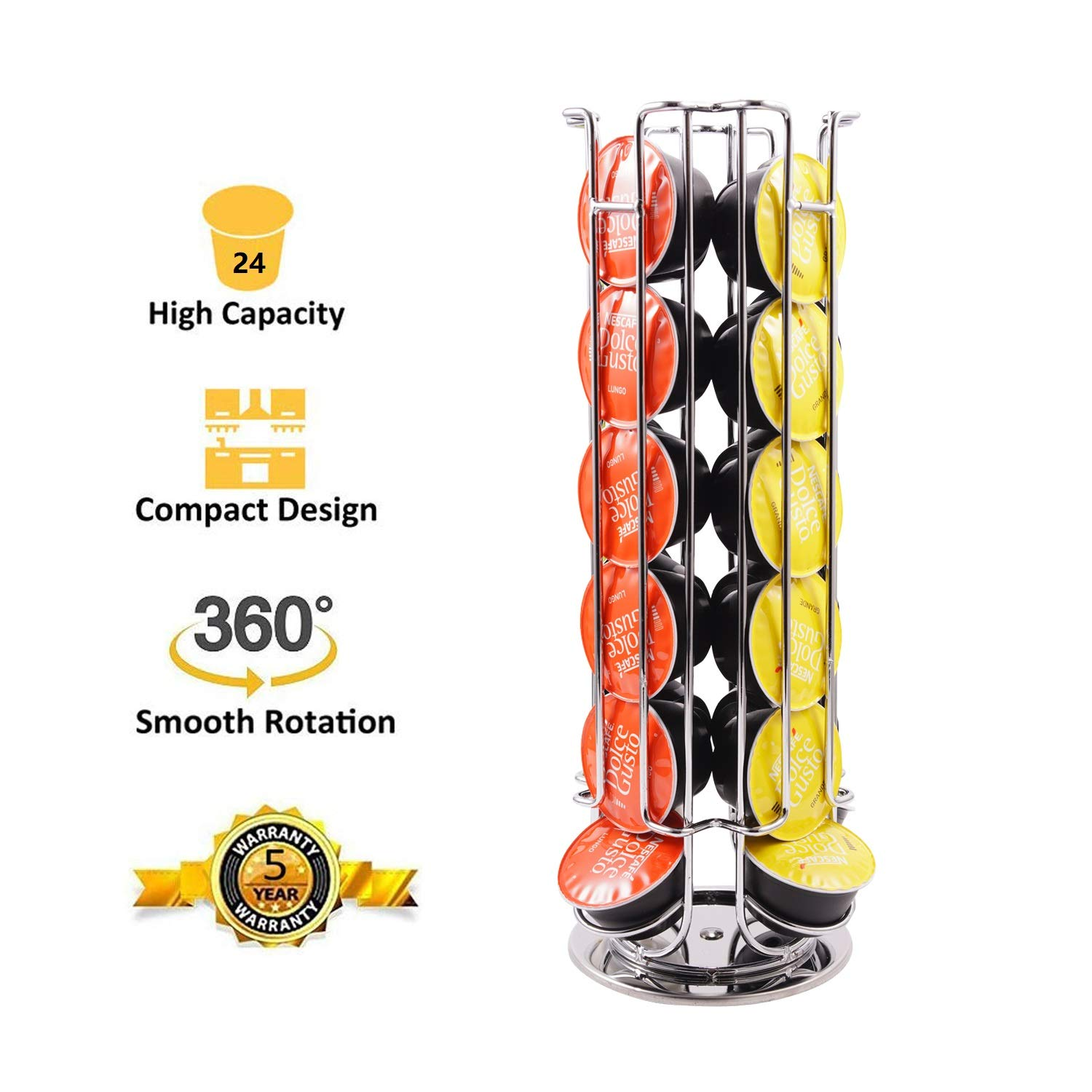 24 Capsule Rotating Coffee Pod Holder Stand Rack For Dolce Gusto
