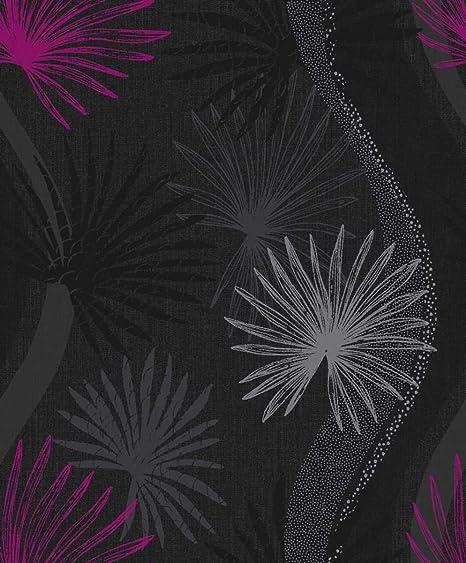 Flower wallpaper floral novara pink black metallic silver arthouse flower wallpaper floral novara pink black metallic silver arthouse mightylinksfo