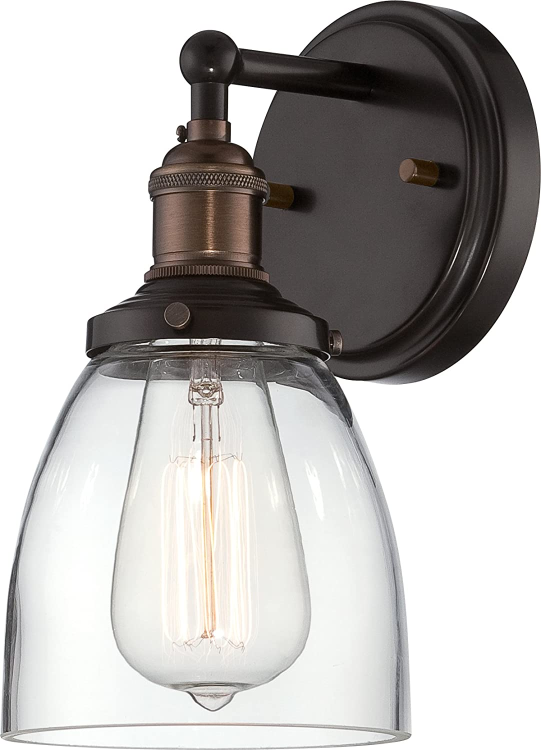 Nuvo Lighting 60 5514 Vintage Incandescent One Light Wall Sconce Cone Clear Glass Rustic Bronze