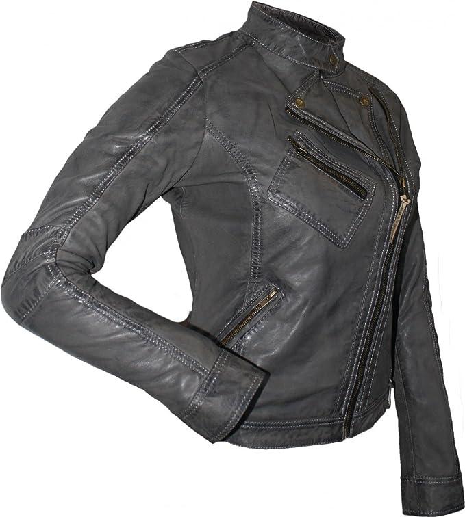 German Wear veste en cuir tendance fashion Lammnappa Véritable Cuir Veste Nappa Cuir Gris