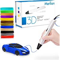 Merlion Christmas Gifts 3D Pen for Kids ,Toys For Kids 3D Pen with 1.75mm PLA Filament Pack of 12, Each Color 10 Feet, 3D Printing Pen with OLED Screen is for Kids,Artist, Adults Upgraded