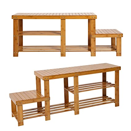 Cool Luckyermore 2 Tire Bamboo Shoes Rack Bench With High And Low Levels Entryway Storage Shoes Shelf Benches For Boot 2 Pack Uwap Interior Chair Design Uwaporg