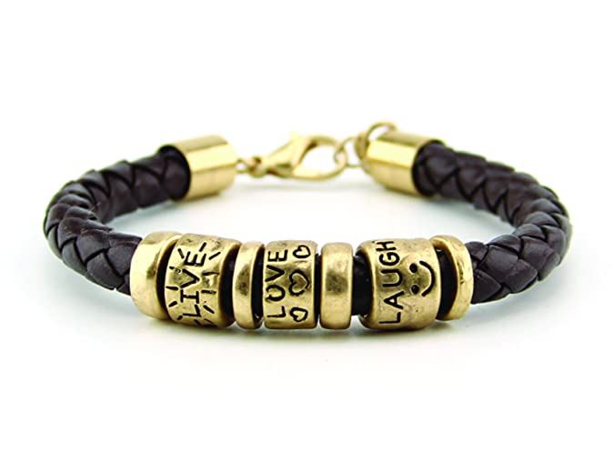 80a8469474e4d Synthetic Leather Inspirational Message Braided Cord Bracelet (Live, Love,  Laugh-Gold)