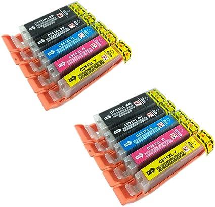 PerfectPrint - 10 compatibles PGI-550 CLI-551 cartuchos de tinta ...
