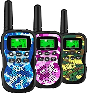 Huaker Kids Walkie Talkies,3 Pack 22 Channels 2 Way Radio Toy with Flashlight and LCD Screen,3 Miles Range Walkie Talkies for Kids Outside Adventures, Camping, Hiking