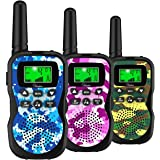 Huaker Kids Walkie Talkies,3 Pack 22 Channels 2 Way Radio Toy with Flashlight and LCD Screen,3 Miles Range Walkie Talkies for