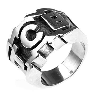 Amazon.com: Mling TCB - Anillo de acero inoxidable grabado ...
