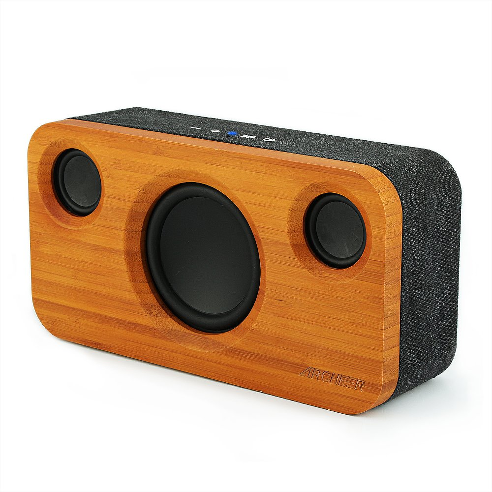 Bluetooth Speakers, ARCHEER 25W Wooden Wireless Speaker with Dual 5W Drivers and 15W Subwoofer, 2.1 Channel Stereo Speaker with Super Bass 11H Playtime, Perfect for Home Theatre and Party, for iPhone, iPad, Samsung, Tablet and More pnlFHvH3E
