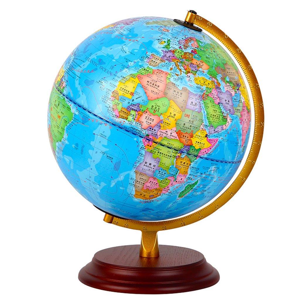 Globo Studente Insegnante con Ornamenti ad Alta Definizione per Bambini World Map Diametro 22.8CM Telaio in Lega di Zinco Base in Legno