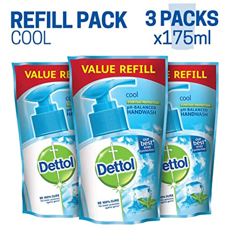 Dettol Germ Protection Handwash Refill - 175 ml (Cool, Pack of 3)