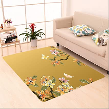 nalahome custom carpet ional house decor ancient chinese ink paint butterfly plum motif folk heritage image