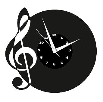 Reloj De Pared, Note Diseño Tocadiscos Reloj con esfera de cuarzo ...