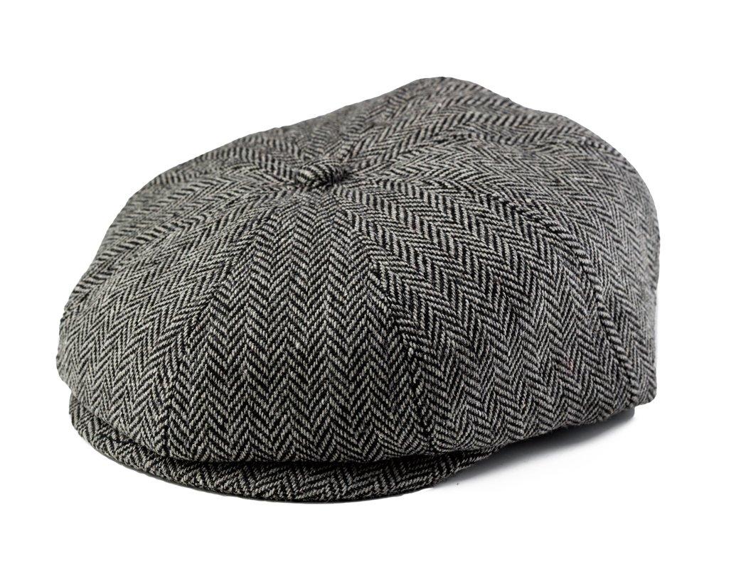 Baby Boy Ring Bearer Pageboy Scally Cap - Flat Ivy Newsboy Tweed Golf Cap Hat (XXS 46cm 6-12m, Black and Gray)