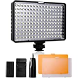 LED Video Light, SAMTIAN [Rechargeable Battery Included] Camera Panel Light with 160pcs LED Dimmable High Power and 2 Filters for Canon Nikon Pentax Panasonic Sony Samsung and Olympus Digital SLR