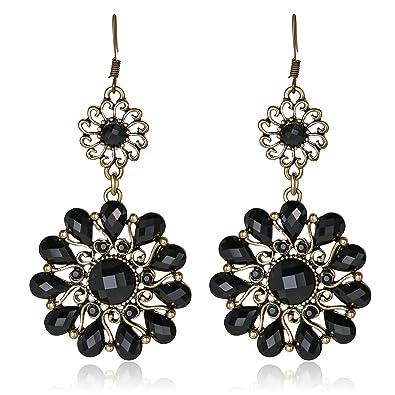 986920aaa01d aooaz joyas oro chapado en oro pendientes de Bohemia. Para Mujer Latón  Doble Flores hohler Negro  Amazon.es  Joyería