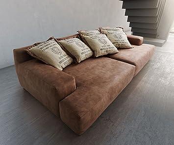 Megasofa braun  Bigsofa Megasofa Braun 300x140 Vintage inkl. 6 Kissen: Amazon.de ...