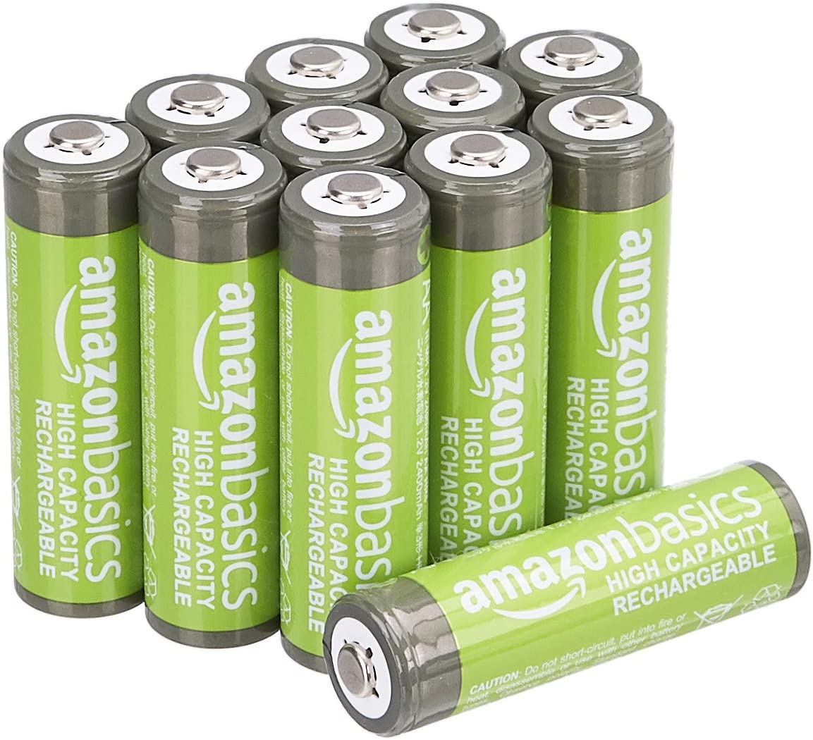 AmazonBasics - Pilas AA recargables de alta capacidad, 2400 mAh (paquete de 12), precargadas