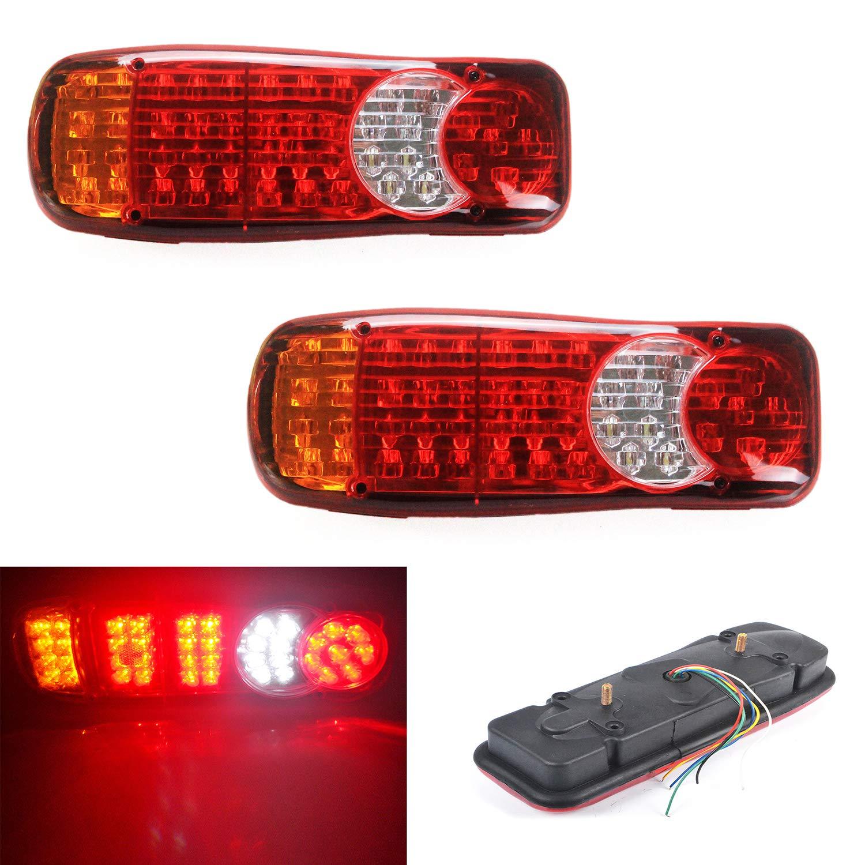 High Key 2X 24V 46 LED Trailer Truck Bus Van Stop Rear Tail Indicator Light Reverse Lamps