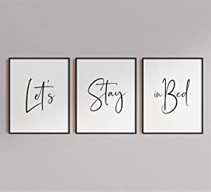 DOLUDO 3 Piece Framed Art Prints Lets Stay in Bed Poster Pictures Canvas Wall Painting for Living Room Bedroom Decoration