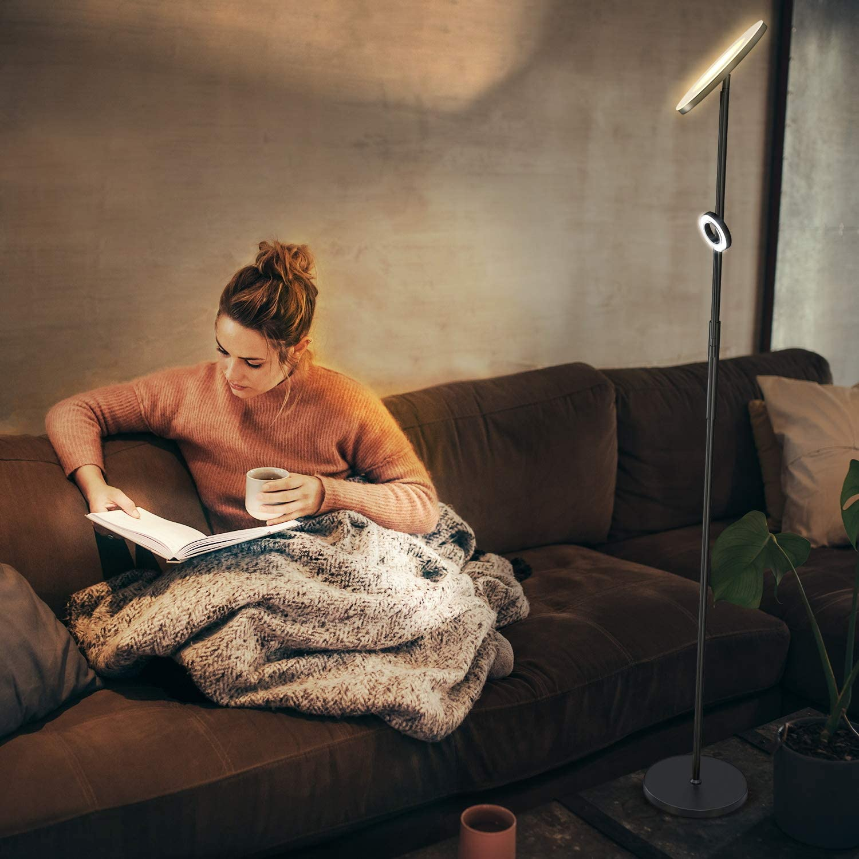 hotel oficina L/ámpara de pie LED regulable negra 30 W con l/ámpara de lectura flexible 5 W l/ámpara de techo moderna l/ámpara de pie 2000 lm con 3 temperatura de color para sal/ón dormitorio Anten