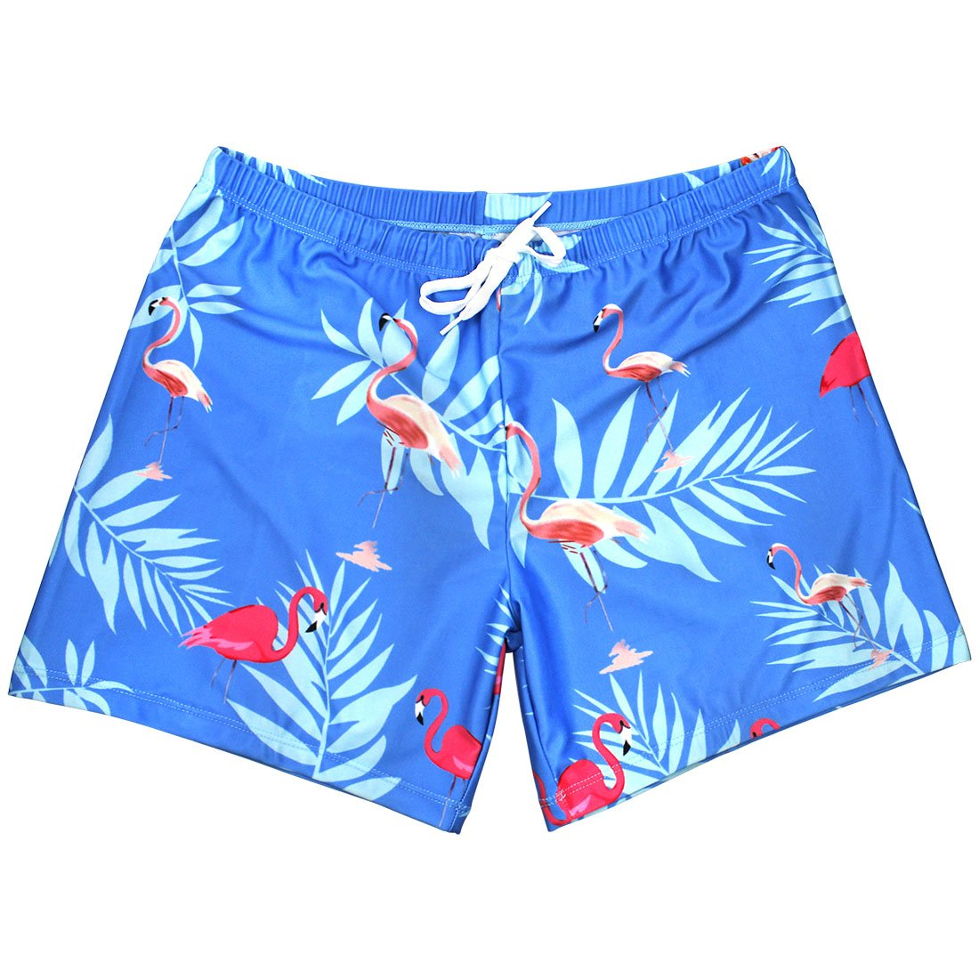 PickUrStyle Men and Boys Slim Fit Quick Dry Fashion Beach Short Swim Trunks with Mesh Lining by, Flamingos L
