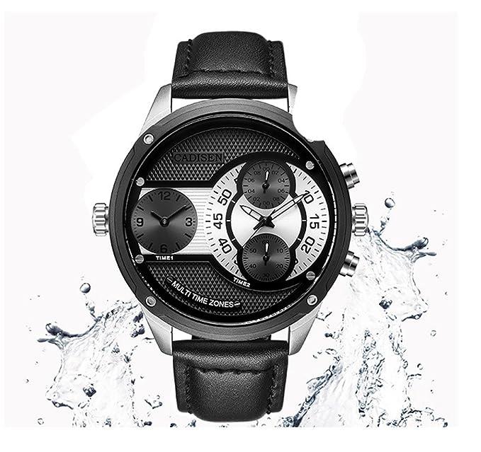 Ecentaur Hombre Relojes Hombre Reloj Quartz Luminous Relojes de pulsera para hombres dual Double Time Zone: Amazon.es: Relojes