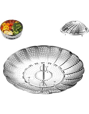 Acero inoxidable Vaporera ajustable Vitamines olla (5.5inch de 9.4inch) Cocinar al vapor