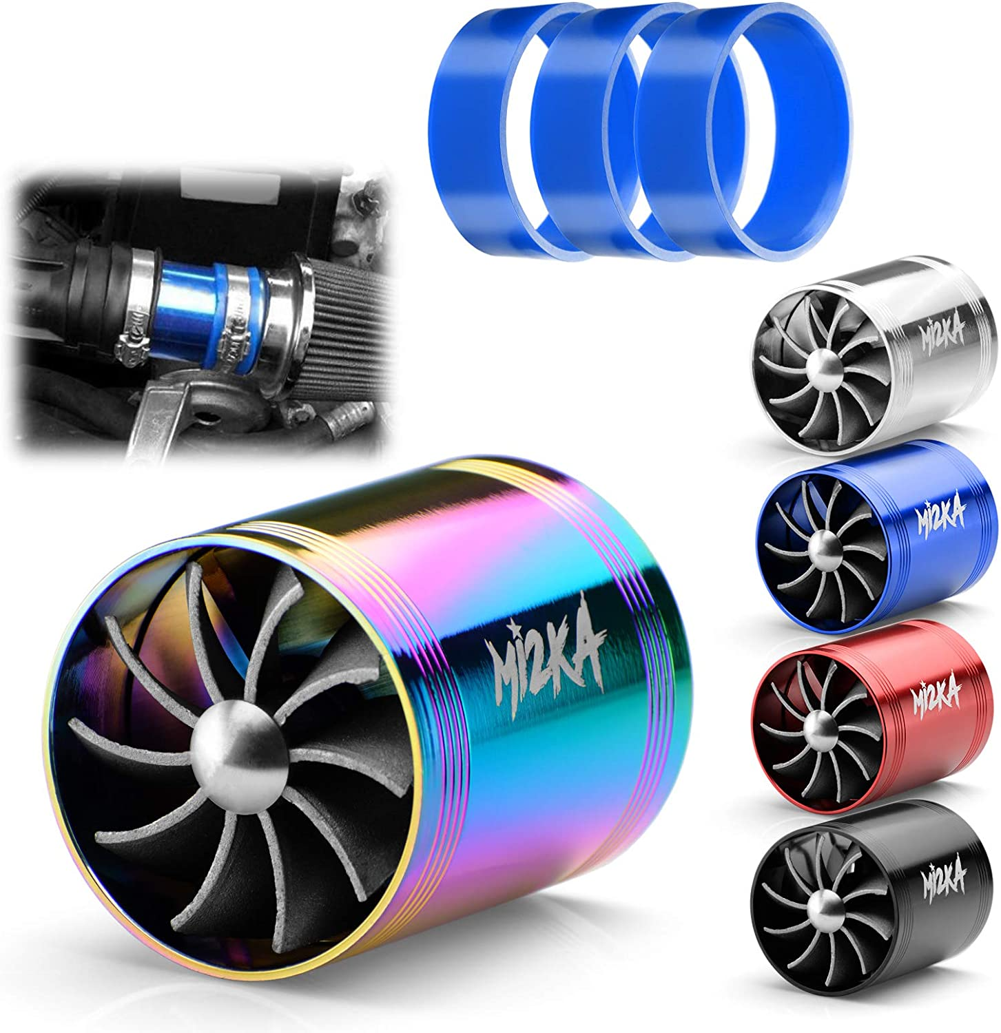 BESPORTBLE Double Turbine Turbo Charger Air Intake Fuel Gas Saver F1 Z Turbo Car Modification Accessories