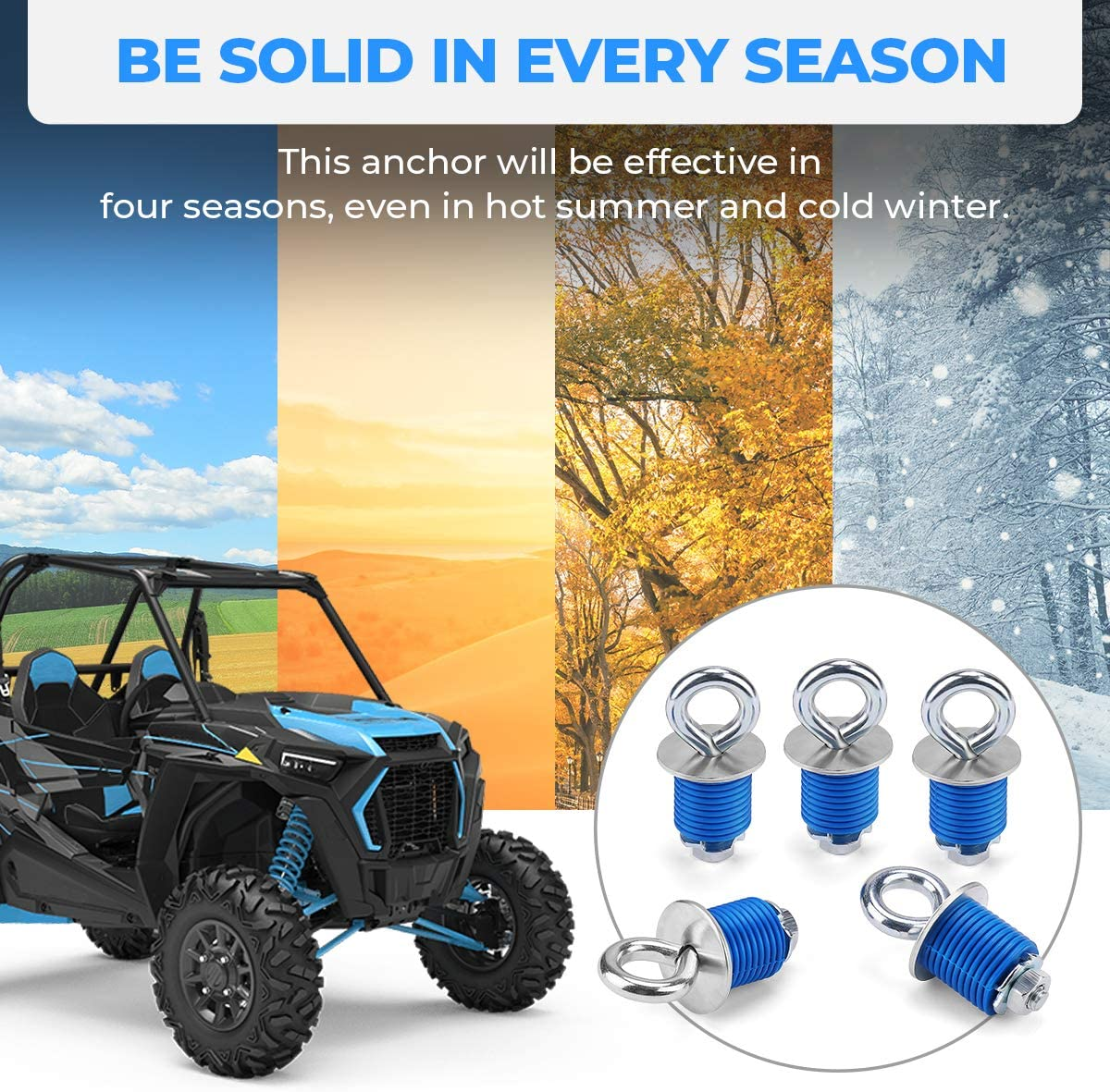 Do Not Fit Ranger or General kemimoto ATV UTV Anchors 900 1000 XP Turbo ACE Sportsman /— Blue Up to RZR 2020 1 Inch Anchors Compatible with Polaris Lock /& Ride RZR Set of 5