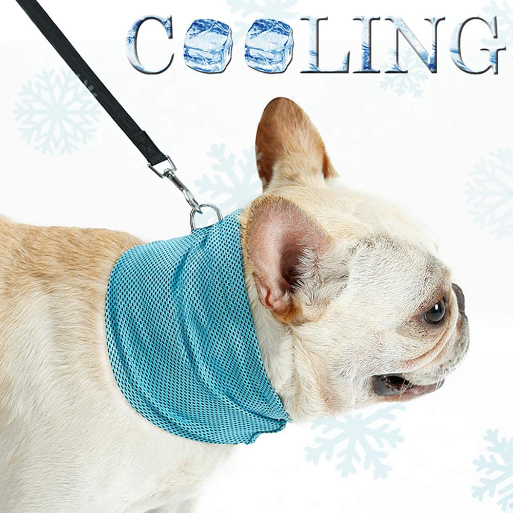Decdeal Dog Cooling Bandanas Dog Ice Cooling Collar Wrap Neck Scarf Headband with Leash Hole for Summer Chill Out DogLemi
