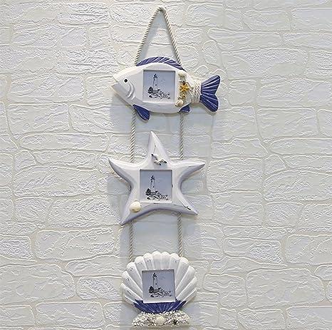 weiwei Marco De Fotos Madera Creativo, Marco De Fotos De Estrellas De Mar Peces Estilo