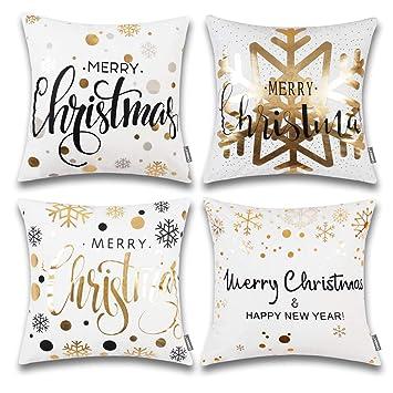 Amazon.com: ONWAY Merry - Juego de 4 fundas de almohada de ...