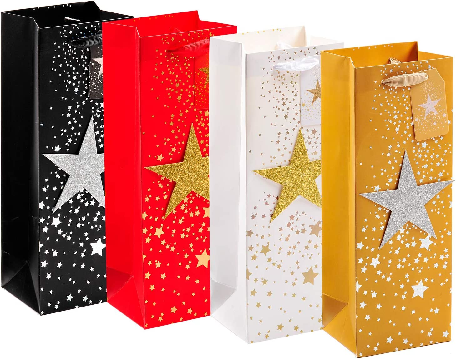 4 Pack Wine Gift Bags for Christmas, Bling Bottle Gift Bags with Stars for Thanks-giving Day, Wine Wrapping Bags with Handles, Paper Gift Bags for Holiday, Wine Bottle Bags for Home Table Party(Stars)