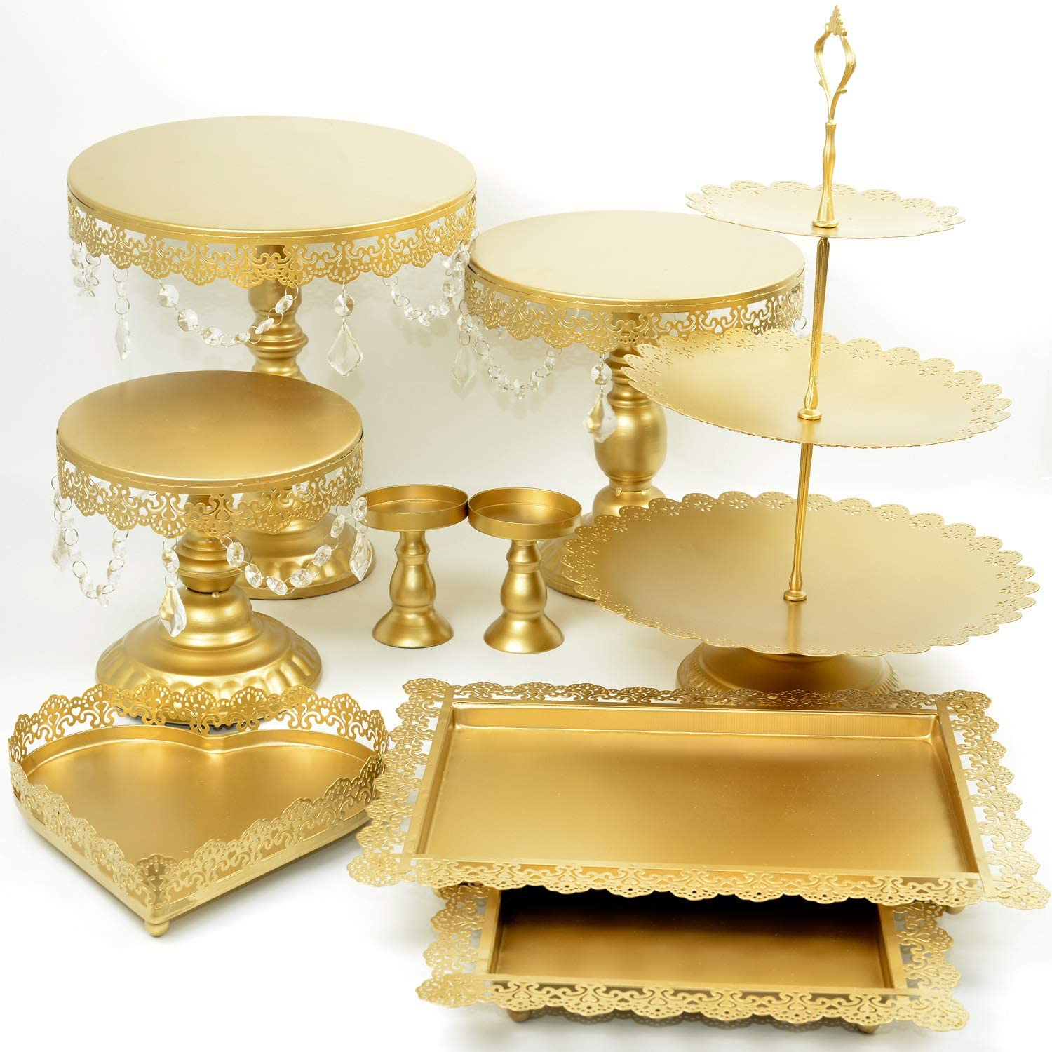 Proshopping 9 Set Antique Metal Cake Stand, Classical Round Cupcake Holder, Cake Plate Tray, Cookie Pedestal Display Tower, for Wedding Birthday Party, with Crystals Pendants and Beads, Gold